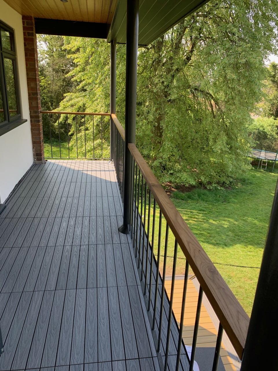 Silver Grey deck tiles on balcony